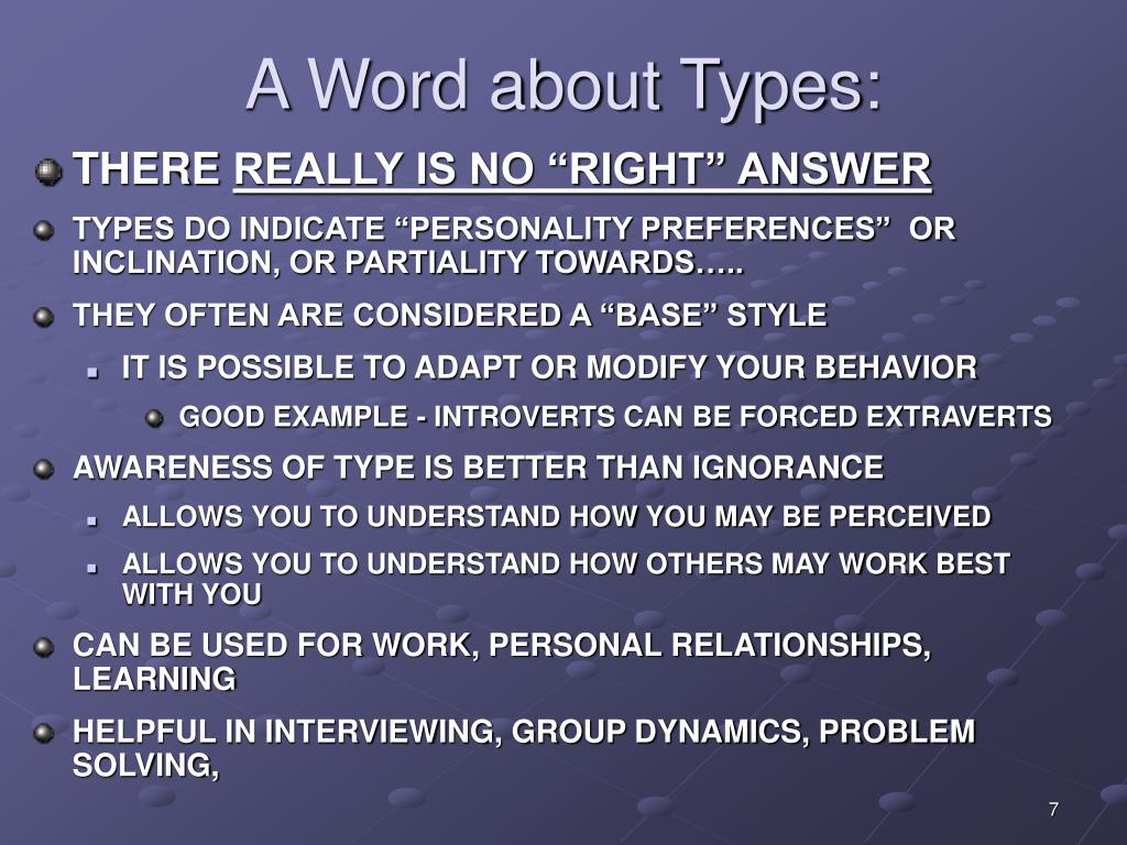 A Word about Types: