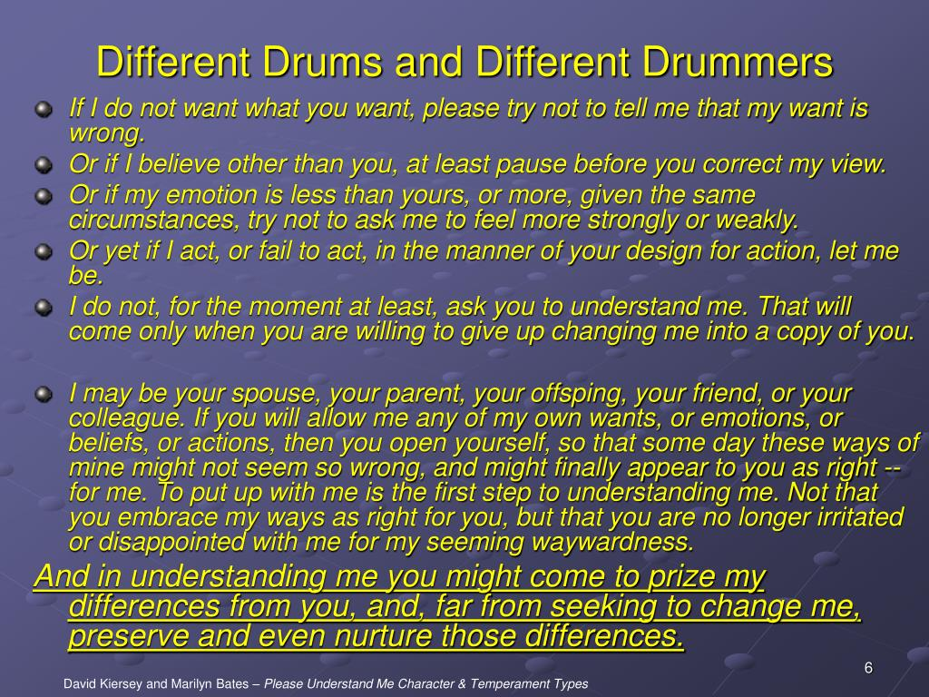 Different Drums and Different Drummers