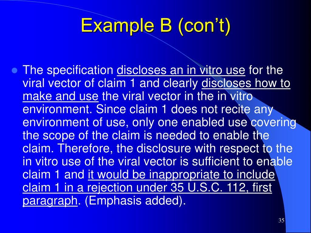 Example B (con't)