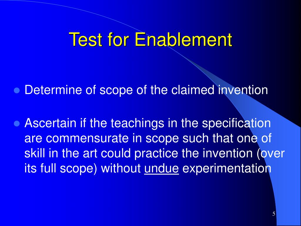Test for Enablement