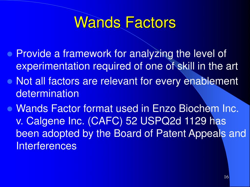 Wands Factors