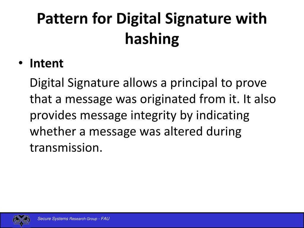Pattern for Digital Signature with hashing