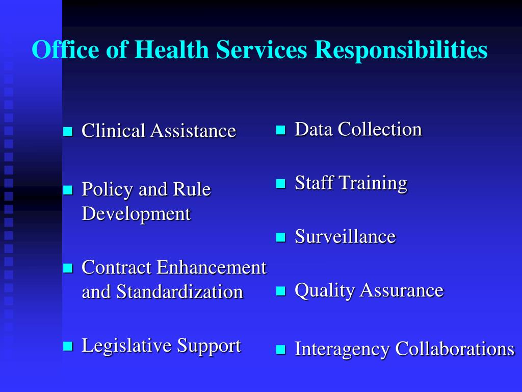 Office of Health Services Responsibilities