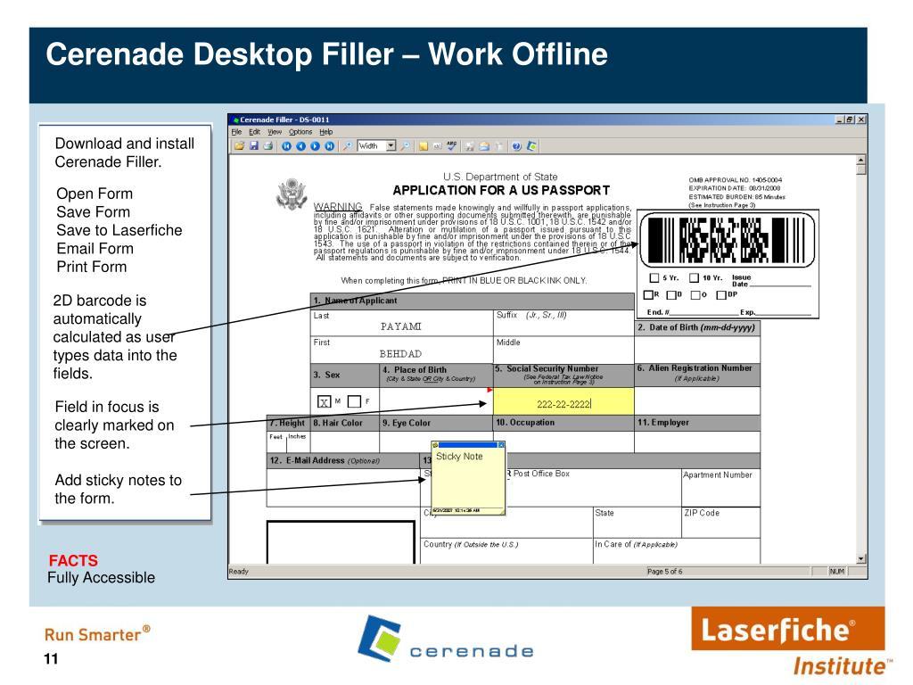 Cerenade Desktop Filler – Work Offline