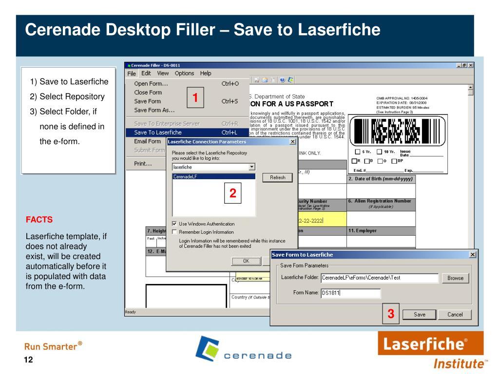 Cerenade Desktop Filler – Save to Laserfiche