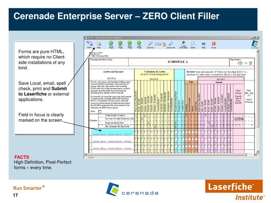 Cerenade Enterprise Server – ZERO Client Filler