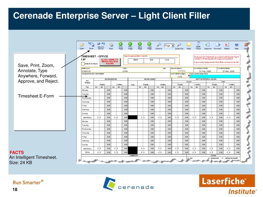 Cerenade Enterprise Server – Light Client Filler