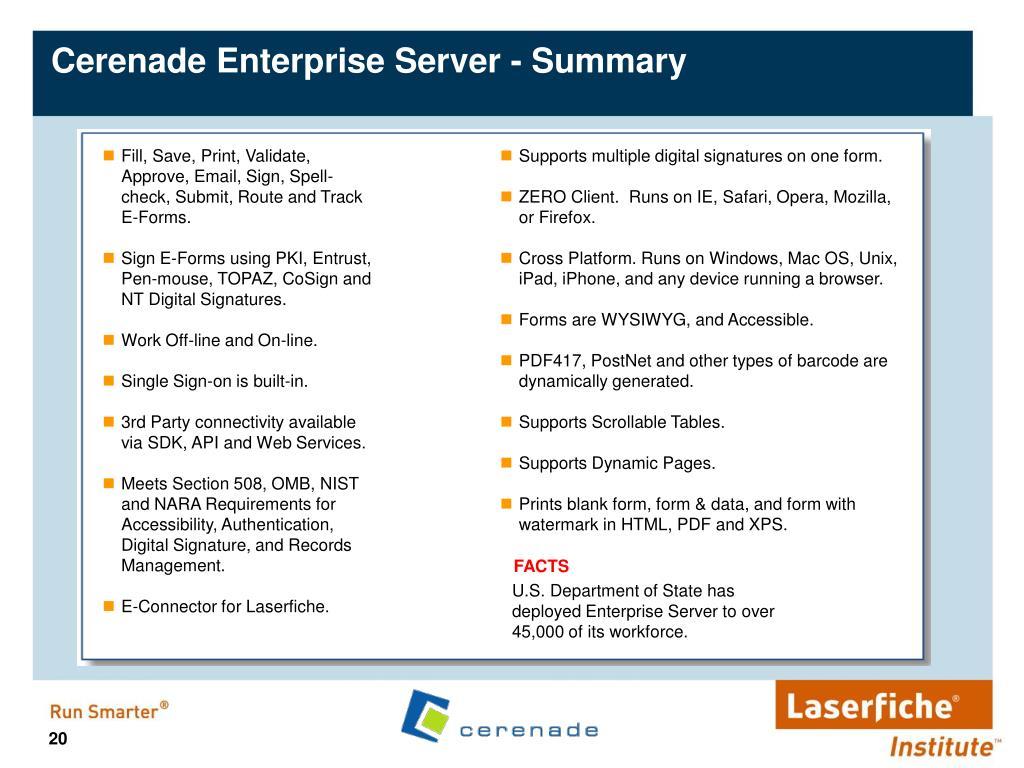 Cerenade Enterprise Server - Summary