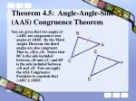 theorem 4 5 angle angle side aas congruence theorem7