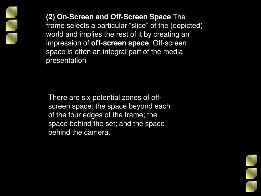 (2) On-Screen and Off-Screen Space