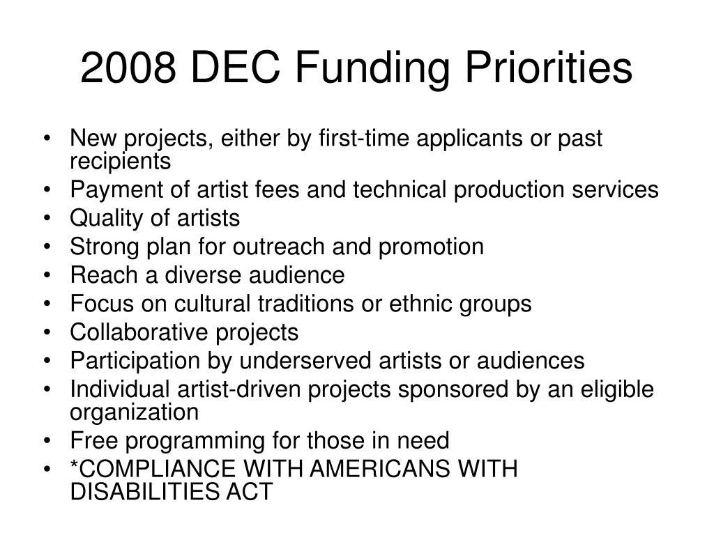 2008 DEC Funding Priorities