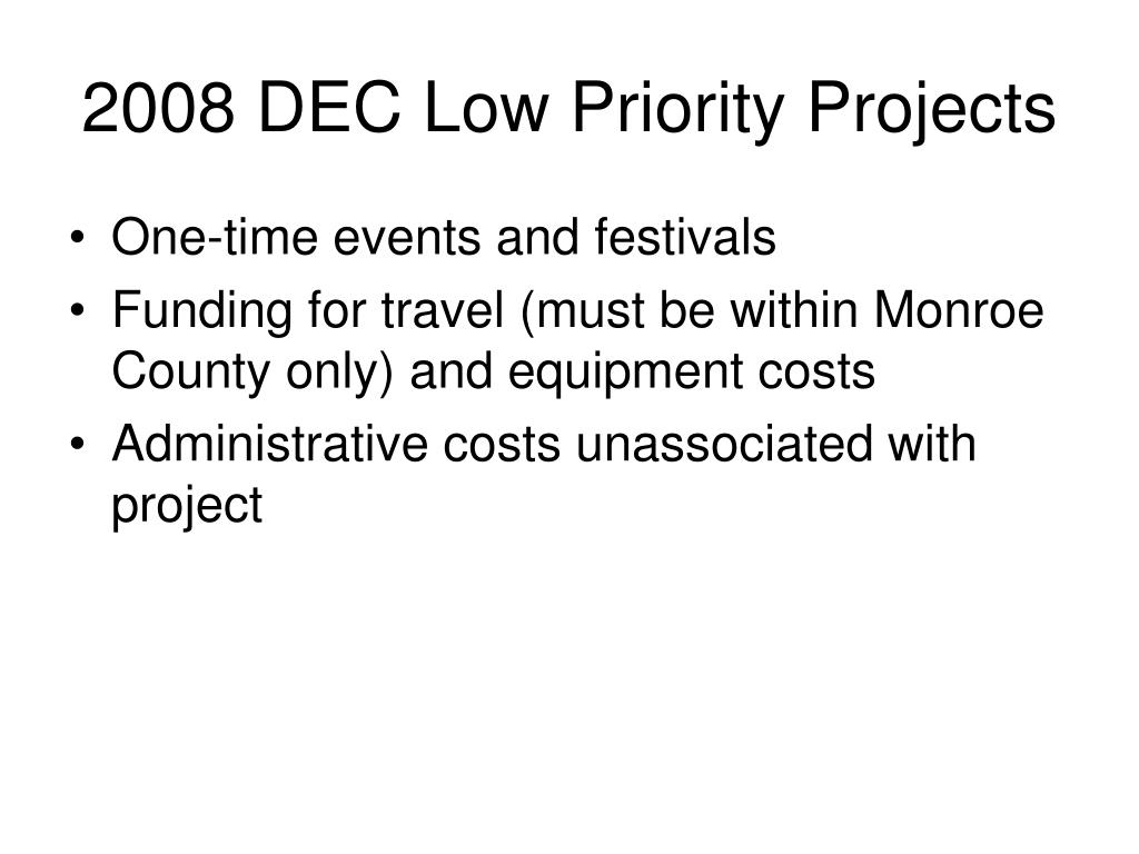 2008 DEC Low Priority Projects