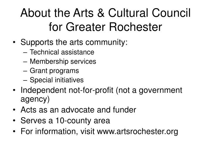 About the arts cultural council for greater rochester