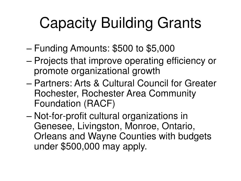Capacity Building Grants