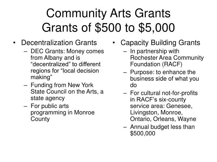 Community arts grants grants of 500 to 5 000