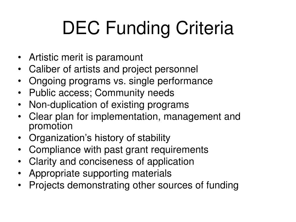 DEC Funding Criteria
