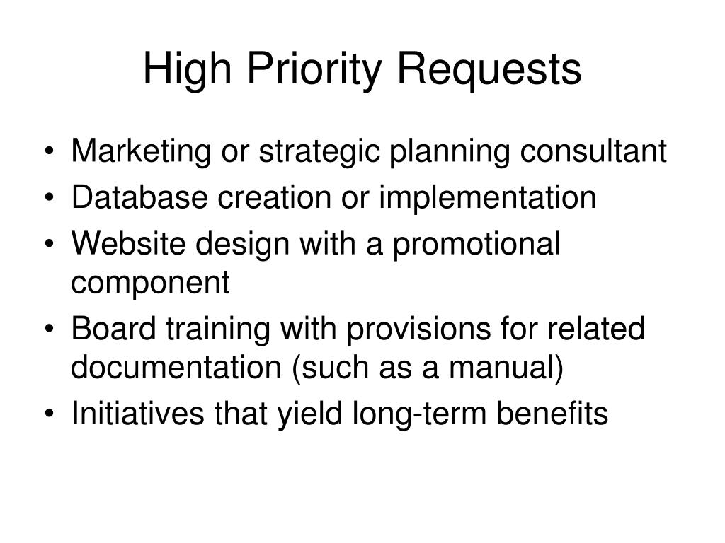 High Priority Requests