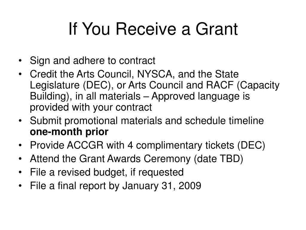 If You Receive a Grant