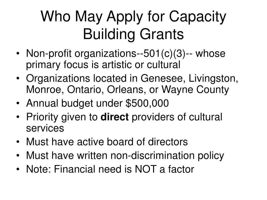 Who May Apply for Capacity Building Grants