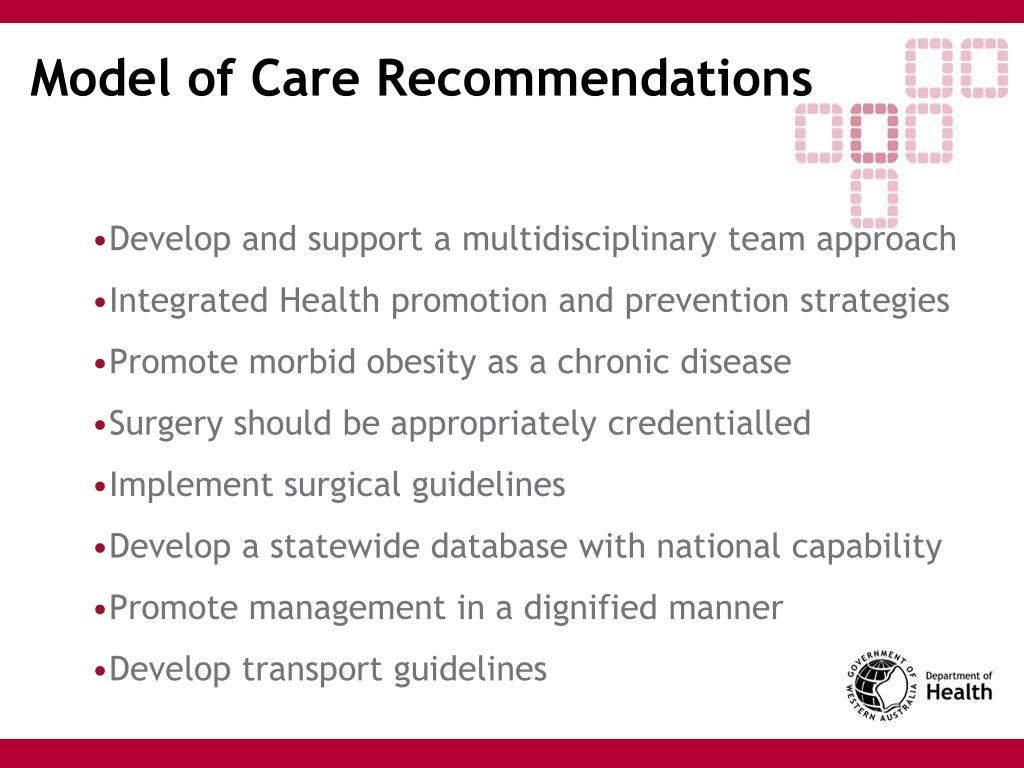 Model of Care Recommendations