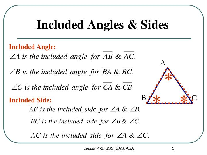 Included angles sides