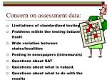 concern on assessment data