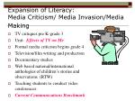 expansion of literacy media criticism media invasion media making