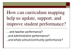 how can curriculum mapping help us update support and improve student performance