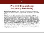 priority 2 designations in country processing