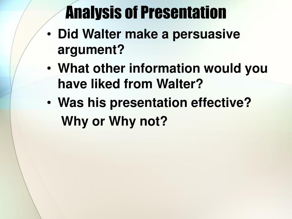 Analysis of Presentation
