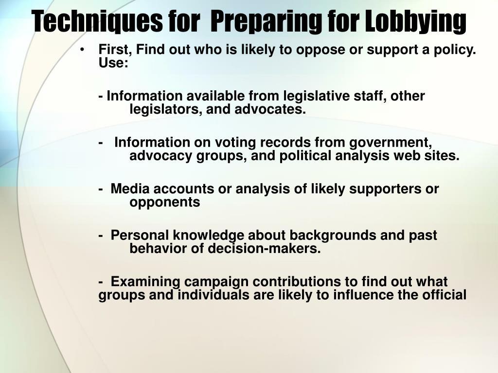 Techniques for  Preparing for Lobbying