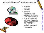 adaptations of various works31