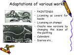 adaptations of various works32