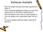 defences available