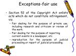 exceptions fair use
