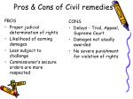 pros cons of civil remedies