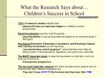 what the research says about children s success in school the parent institute 2003