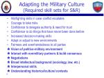 adapting the military culture required skill sets for s r