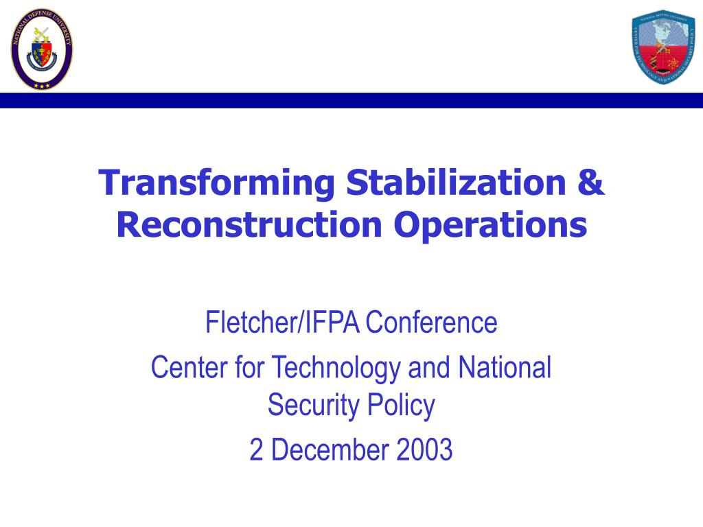 transforming stabilization reconstruction operations l.