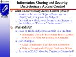 information sharing and security discretionary access control