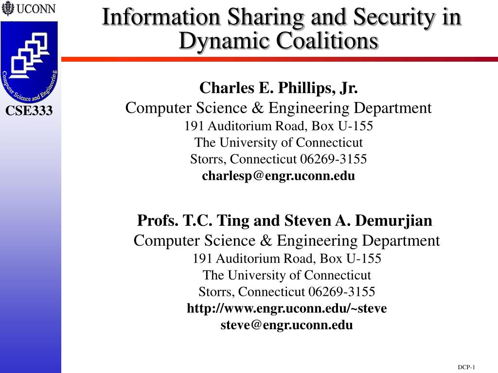 information sharing and security in dynamic coalitions l.