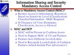 information sharing and security mandatory access control