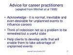 advice for career practitioners adapted from mitchell et al 1999