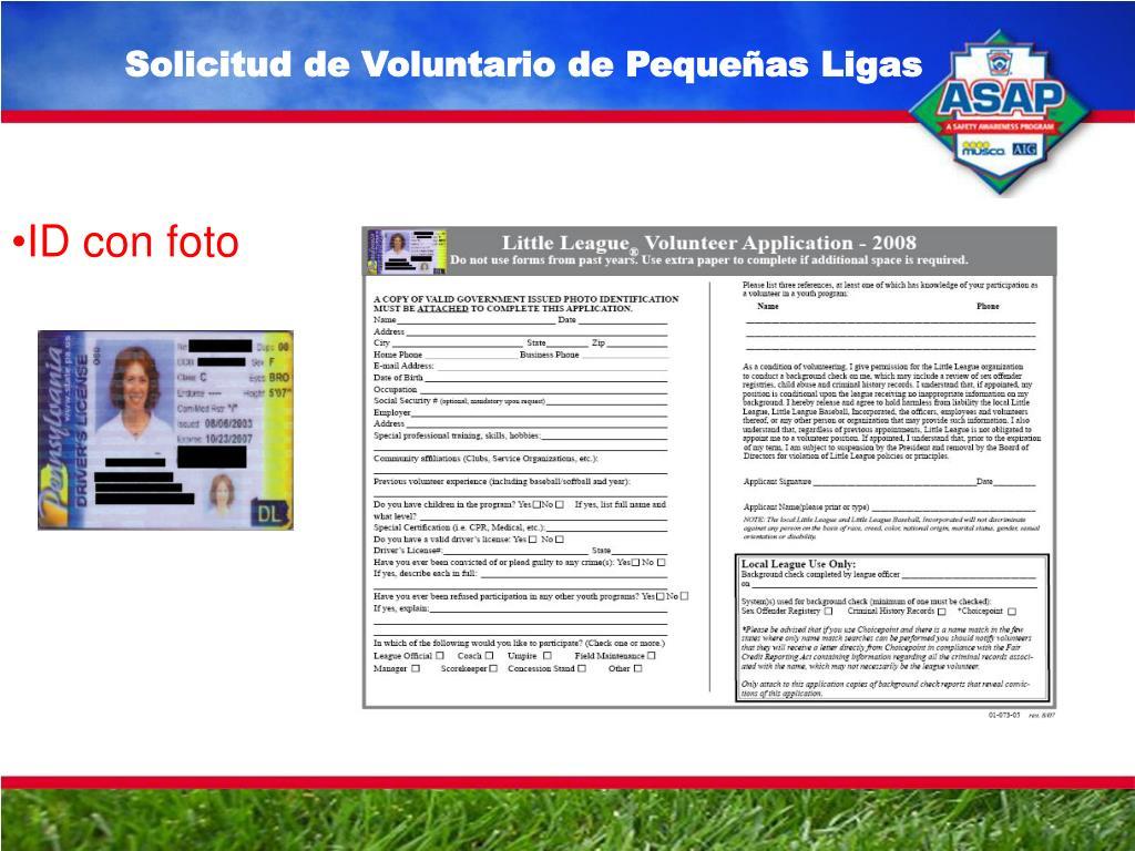Solicitud de Voluntario de Pequeñas Ligas
