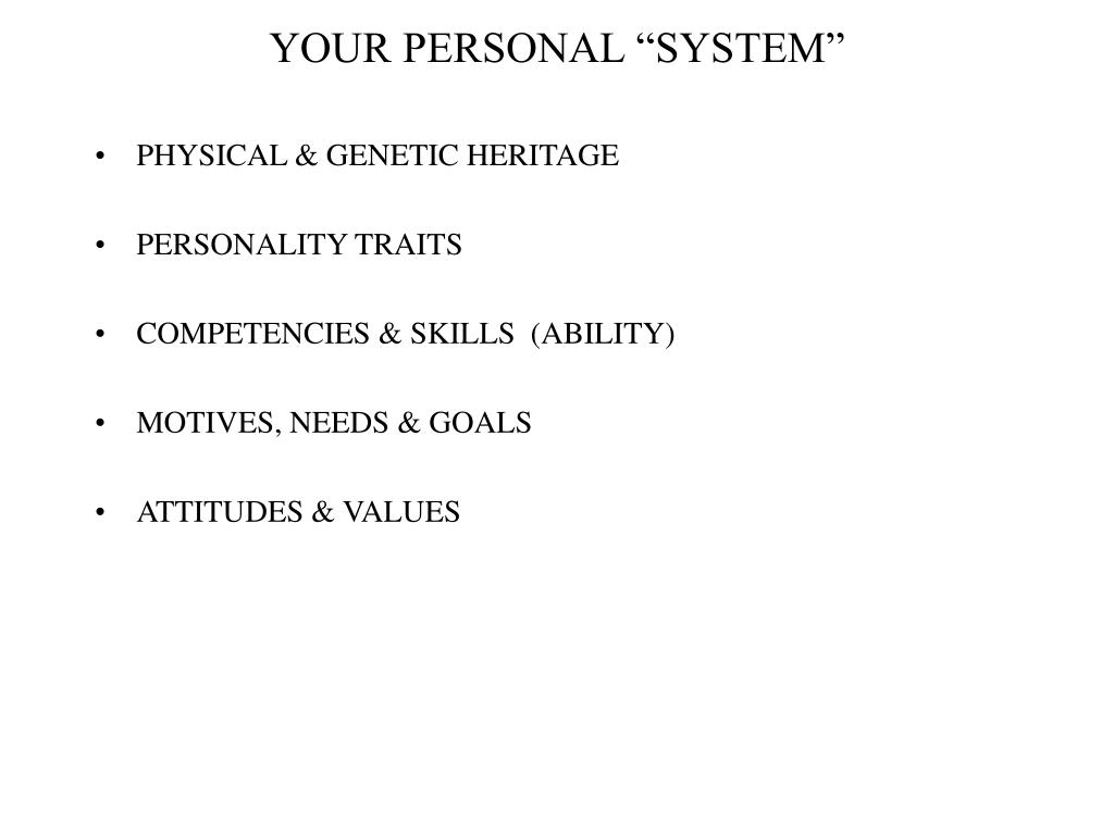 your personal system l.
