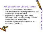 art education in ontario cont d10
