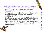 art education in ontario cont d8