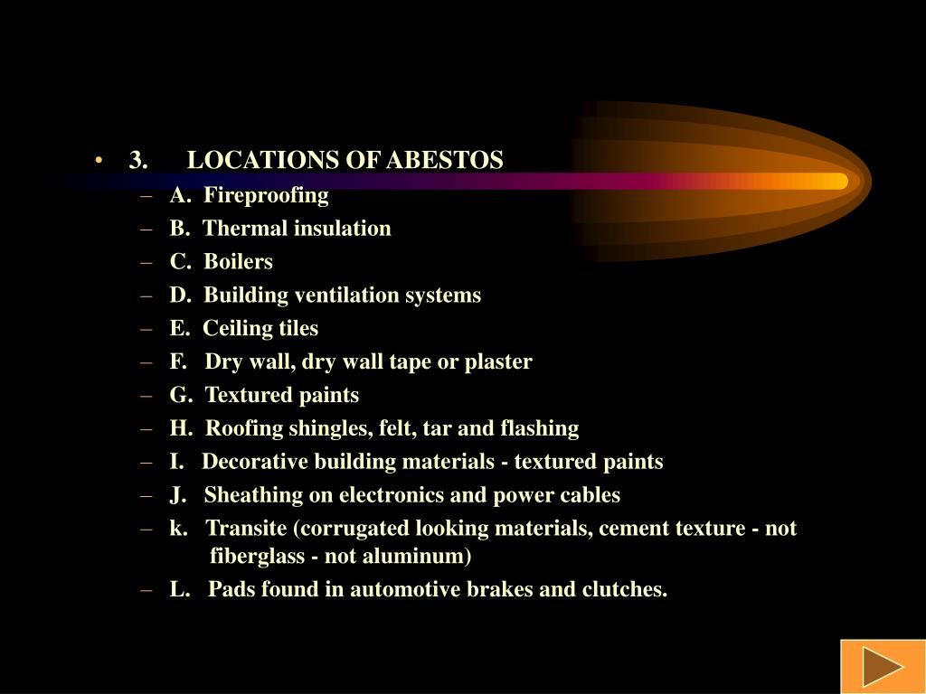 3.LOCATIONS OF ABESTOS