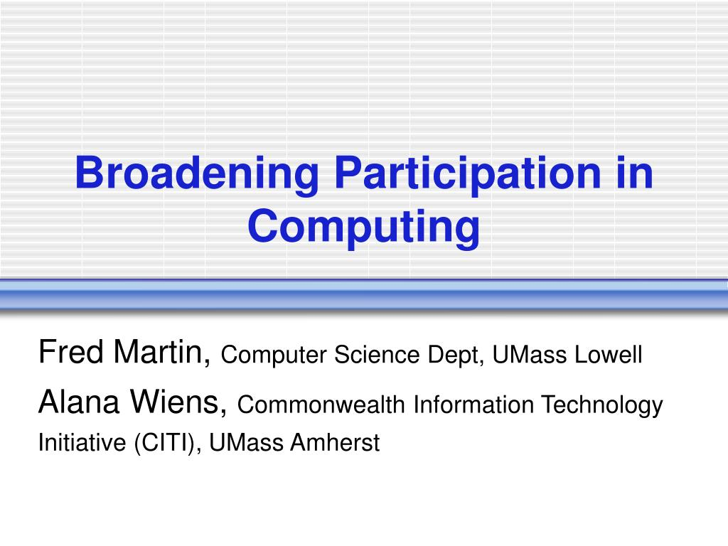 broadening participation in computing l.