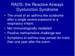 rads the reactive airways dysfunction syndrome